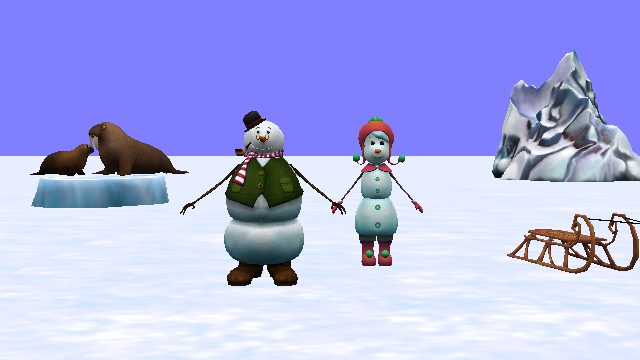 Snow People Holding Hands